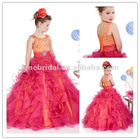 Hot pink organza corset beaded girls party dresses