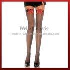 Sheer Thigh Highs with Satin Bow