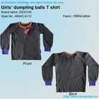 100% Cotton long sleeve girl pom poms T shirt