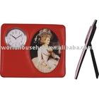 leather table (desk) clock
