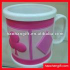 3D embossed logo plastic mug cup