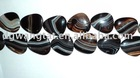 25mm black stripe agate loose bead