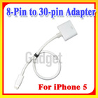 Latest!! 8-Pin to 30-pin Adapter cable for iPhone 5 5G, for iPod Touch 5th ,for Nano 7th