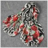 Zebra & Foral animal printed winter silk scarves
