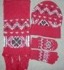 women 30%acrylic 70%wool jacquard Scarf Hat & Glove Sets QSY8013