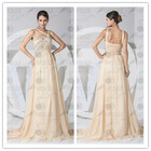Real photo new design spaghetti straps pleated sweep train evening dress