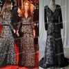 Elegant V-neckline Black Lace Kate Middleton Celebrity Long Sleeves Floor Length Evening Dresses