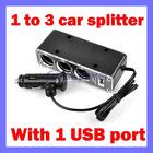 1 to 3 Car Cigarette Lighter Socket DC Power Adapter Splitter w/ 1 USB Port