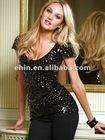 t shirt, lastest shirt designs for women,Sequin V-neck Tee