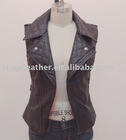 Women's fashion leather vest with two-piece collar
