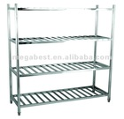Stainless steel knock-down 4 tier display shelf, rack