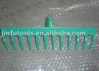 green painted rake head