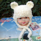Made in China 100% hand crochet soft Newborn Fuzzy Bear beanie hat with crochet earflaps (KCC-TM00197)