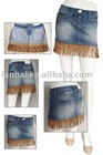 Ladies denim skirt with leather fringes
