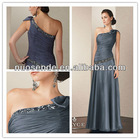 Long Grey Evening dresses 2013 Beaded one shoulder Evening Gowns 2013
