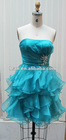 RUFFLE MINI CUTY EVENING GOWN, PARTY DRESS