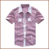 Contrast Color Boys Cotton Casual Grid Short Sleeve Shirt