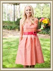 2012 High Quality Taffeta Sleeveless A-line Knee Length Chiffon Coral Bridesmaid Dress For Sale