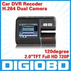 "Car DVR Dual lens 2.0"" TFT Full HD 720P 120degree HD ultra wide angle lens Allwinner F20 With G-sensor C105"