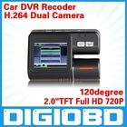 "Car DVR Dual lens 2.0"" TFT Full HD 720P 120degree HD ultra wide angle lens Allwinner F20 With G-sensor C105"