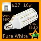 PC E27 16W 110V 1600LM SMD5050 High Power Pure White 86LED Corn Lamp Light Bulb