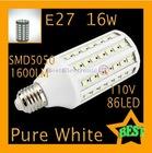 PC E27 16W 110V 1600LM SMD5050 High Power Pure White 86LED Corn Lamp Light Bulb