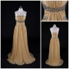 Charismatic Column Full Strapless Beaded Floor Length Champagne Prom Dresses
