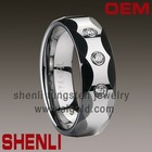 Mens tungsten ring for engagement polished shiny&faceted