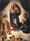 Italy oil painting of Christ and Virgin, printed on silk