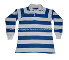 Men's long sleeve royal and white striped rugby shirt