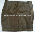 Ladies Fashion garment dyed PU Leather Step Skirt! Hot!