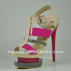 Double platform patent leather high heel ladies summer sandals 2012