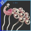 Pink full rhinestone queen peacock hair comb