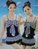 Stylish Stripe Bowknot Sleeveless Swimwear Deep Blue SY12060602
