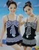 Stylish Stripe Bowknot Sleeveless Swimwear Deep Blue SY12060602