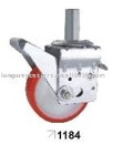 Scaffolding caster with brake pedal
