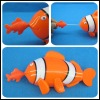 Multi color pull string wind up swimming clown fish baby toy
