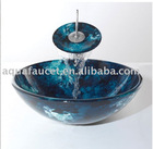hand paint bathroom glass basin