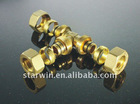 Brass screw(threaded) fitting equal tee for water pipe