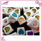 square alphabet beads carving heart shape