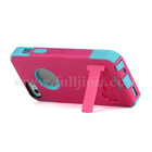 Dual-layer Silicone & Plastic Combo Case Cover with Stand for iPhone 5 - Rose Baby Blue