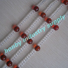 Clear and red colors 100% distribution hanging crystal chain curtains