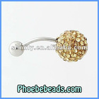 Wholesale New Arrival 10mm Crystal Disco Ball Belly Button Piercing Body Jewelry Navel Bell Rings Stainless Steel Bar BBR-A009