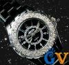 Double Bling Crystal Women Lady Easy Read Metallic Bracelet Cuff Watch Black