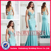 PMD223 shiny sparkle sequin beaded open back chiffon blue mermaid prom dress