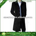 Men's Winter Black Business Wool Wind Proof Thick Lengthening Long Jacket