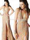 Luxurious Coral Plunging V Neckline All Over Sequined Halter Top Sided Slit Party Evening Dress