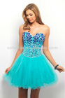 Royal / Aqua Hot Jeweled Beads and Satin Piping Shape Lace-up Back Fit and Flare Short Cocktail Dress