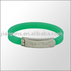 Green Silicone Wristband with metal plate