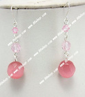 pink cat eye & glass crystal 925silver earring